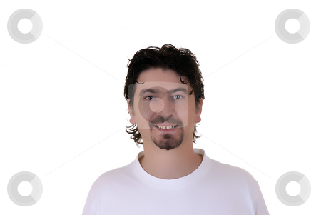 Funny stock photo, Casual young man portrait in a white background by Rui Vale de Sousa