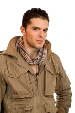 Young man stock photo, Studio picture of a young man dressed for winter by Rui Vale de Sousa