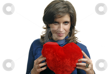 Valentines stock photo, Pretty young woman holding a Valentines heart by Rui Vale de Sousa