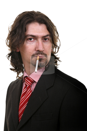 Smoke stock photo, Man with a cigarette on black background by Rui Vale de Sousa