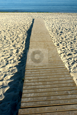 Beach stock photo, Wood path to the water in the beach by Rui Vale de Sousa