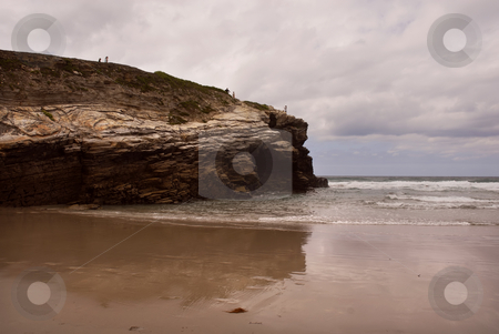 Beach stock photo, Small beach rock in the coast of spain by Rui Vale de Sousa