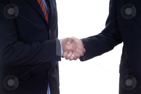 Agreement stock photo, Business men shaking hands isolated over a white background by Rui Vale de Sousa