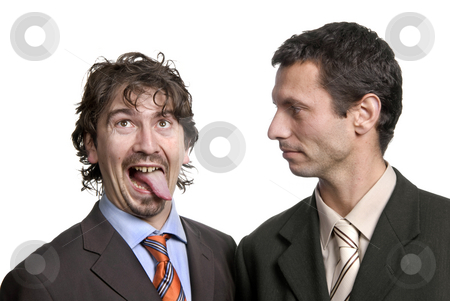 Silly stock photo, Two young silly business men portrait on white by Rui Vale de Sousa