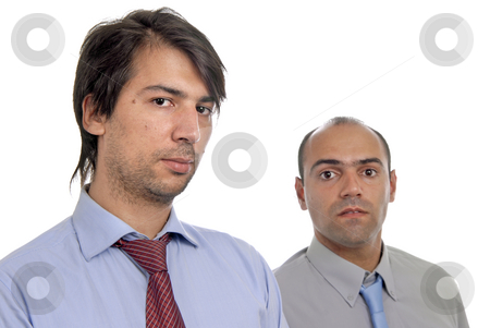 Business stock photo, Two young business men portrait on white. focus on the right man by Rui Vale de Sousa