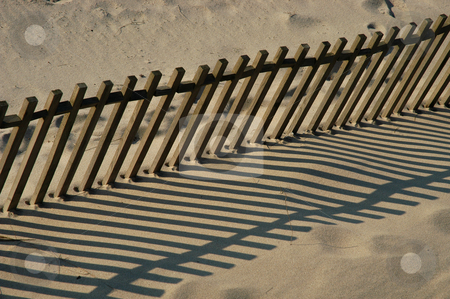 Fence stock photo, Fence on the sand by Rui Vale de Sousa