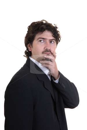Thoughts stock photo, Young businness man among thoughts in a white background by Rui Vale de Sousa