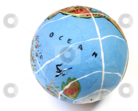Globe stock photo, Closeup of a globe showing the Ocean isolated on white by Rui Vale de Sousa