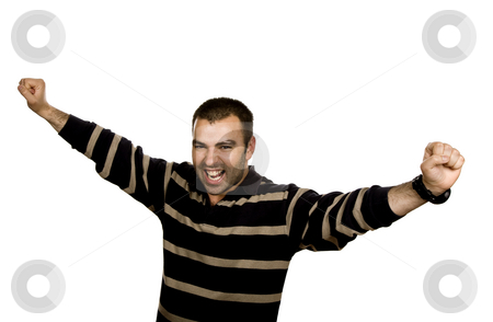 Victory stock photo, Happy young man with arms isolated on white by Rui Vale de Sousa