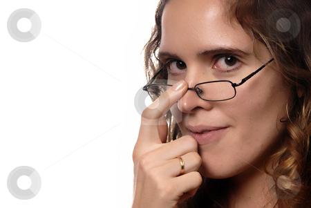 Brunette stock photo, Portrait of young brunette with black glasses by Rui Vale de Sousa