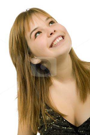 Happy stock photo, Young casual blonde woman close up portrait by Rui Vale de Sousa