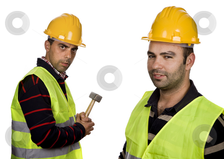 Worker stock photo, Workers with yellow hardhat in a white background by Rui Vale de Sousa