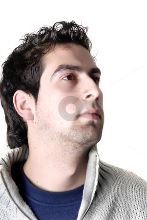 Dude stock photo, Young casual man portrait in a white background by Rui Vale de Sousa