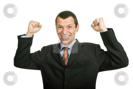 Victory stock photo, Successful business man with open arms isolated on white by Rui Vale de Sousa
