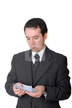 Cash stock photo, Attractive young business man a over white background by Rui Vale de Sousa