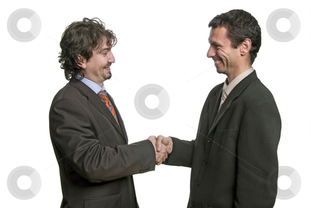 Handshake stock photo, Businessmen shaking hands - isolated over a white background by Rui Vale de Sousa