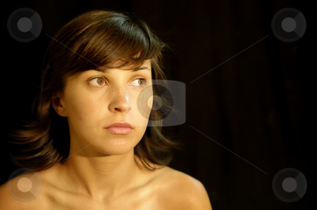 Girl stock photo, Young woman portrait in a black background by Rui Vale de Sousa