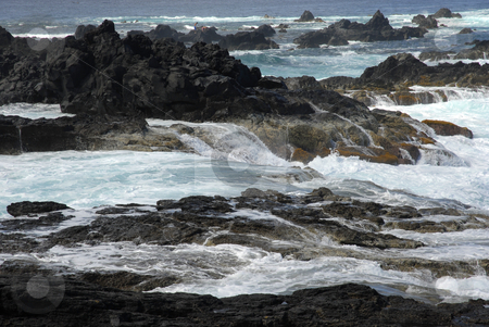 Rocks stock photo, Rocks on the coast with ocean waves by Rui Vale de Sousa