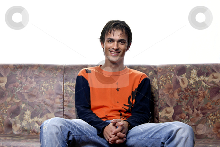 Happy stock photo, Young casual man portrait in a sofa by Rui Vale de Sousa