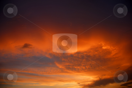 Sunset stock photo, Orange sky with the clouds at sunset by Rui Vale de Sousa