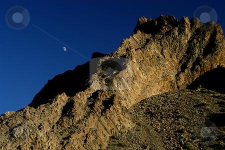 Mountain stock photo, Mountain and the moon by Rui Vale de Sousa