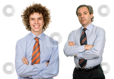 Two men stock photo, Teenager man and a mature man portrait on white by Rui Vale de Sousa