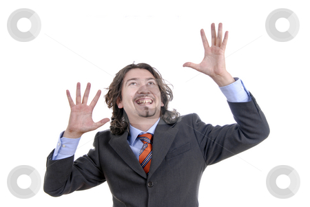Happy stock photo, Man with hands open isolated on white by Rui Vale de Sousa