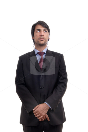 Wondering stock photo, Young business men portrait isolated on white by Rui Vale de Sousa