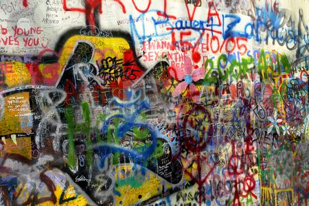 Graffitti stock photo, Famous graffitti of jonh lenon in prague by Rui Vale de Sousa