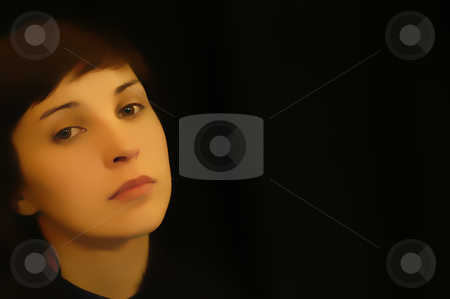 Girl stock photo, Young woman close up portrait in black background by Rui Vale de Sousa
