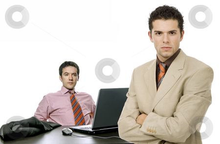 Workers stock photo, Two young business man working with is laptop by Rui Vale de Sousa