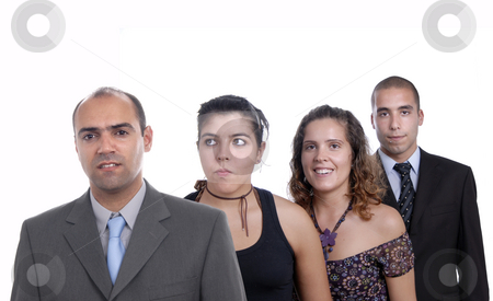 Team stock photo, Business team, isolated on white background, focus on the left man by Rui Vale de Sousa