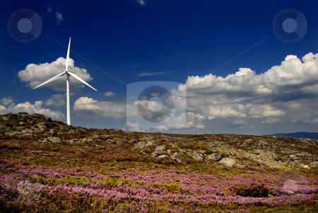 Power stock photo, White wind turbine in the top of the mountain by Rui Vale de Sousa