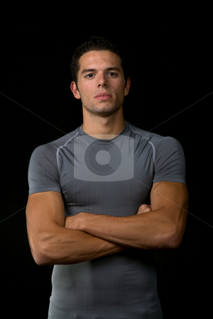 Portrait stock photo, Young man portrait, on a black background by Rui Vale de Sousa