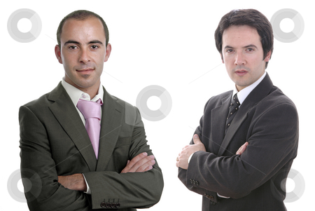 Portrait stock photo, Two young business men portrait on white by Rui Vale de Sousa