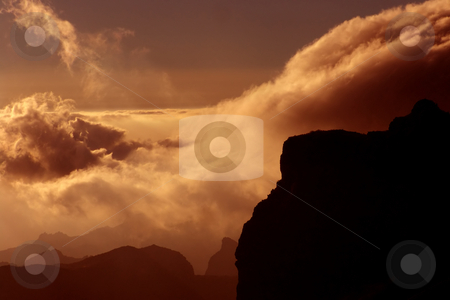 Mountains stock photo, Clouds at the mountains at the sunset, in tenerife island by Rui Vale de Sousa