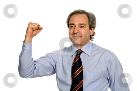 Winner stock photo, Successful business man with arms isolated on white by Rui Vale de Sousa