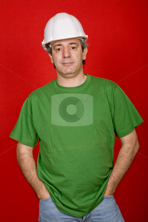 Foreman stock photo, Mature casual man on a red background by Rui Vale de Sousa