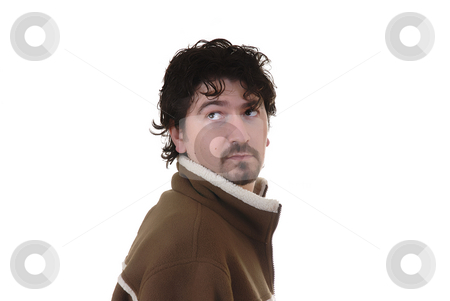 Male stock photo, Young casual man portrait in a white background by Rui Vale de Sousa
