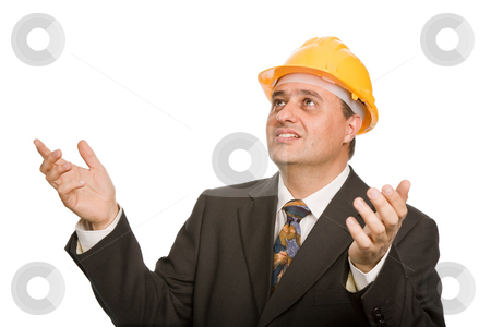 Asking stock photo, An engineer with yellow hat, isolated on white by Rui Vale de Sousa