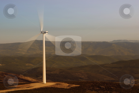 Eolic stock photo, One eolic generator in a wind farm by Rui Vale de Sousa