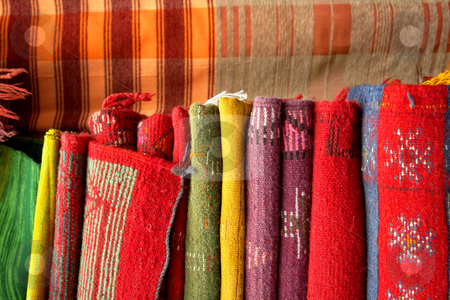 Carpet stock photo, African carpet background detail in a street of morroco by Rui Vale de Sousa