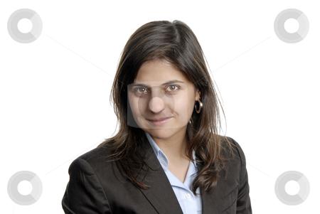 Brunette stock photo, Young attractive woman portrait, over white background by Rui Vale de Sousa