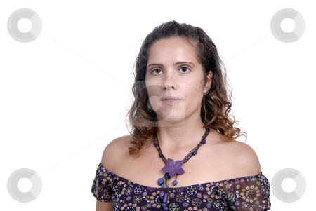 Woman stock photo, Beautiful young woman posing in white background by Rui Vale de Sousa