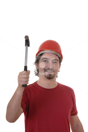 Worker stock photo, Young worker with a hammer in the hand by Rui Vale de Sousa