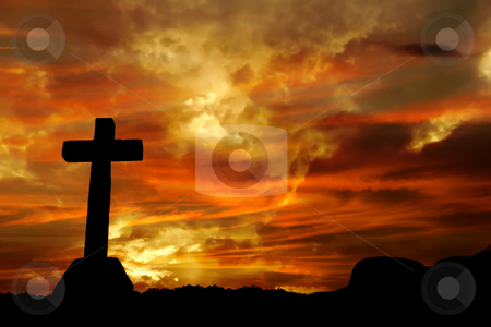 Power stock photo, Cross silhouette and the clouds at sunset by Rui Vale de Sousa
