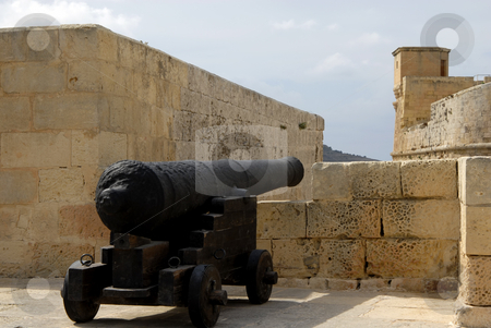 Cannon stock photo, Medieval cannon on the Citadel bastions in Gozo, Malta by Rui Vale de Sousa