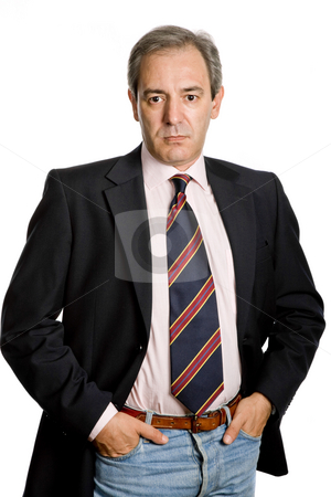 Standing stock photo, Mature business man portrait in white background by Rui Vale de Sousa