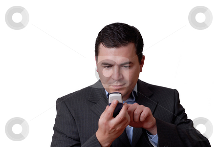 Man stock photo, Young man with a phone in white background by Rui Vale de Sousa