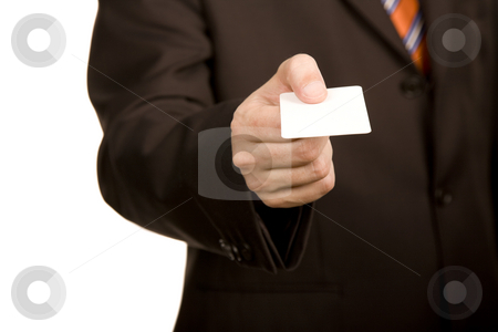Card stock photo, Hand of businessman offering businesscard on white background by Rui Vale de Sousa